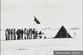 People queuing to vote at Mawson Station in Antarctica