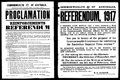 Image of a Proclamation regarding the 1917 referendum for reinforcements to service in World War I