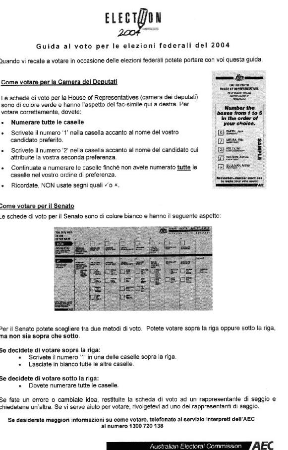 appendix f text of how to vote information in italian
