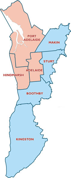 map of Adelaide urban area