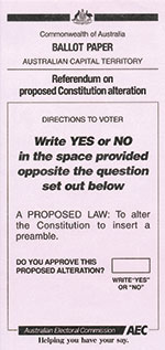 Ballot Paper example, Queensland, preamble question