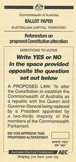 Ballot Paper example, Queensland, republic question